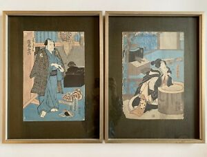 Japanese Woodblock Prints Toyokuni C Mid 1800s A Pair Framed