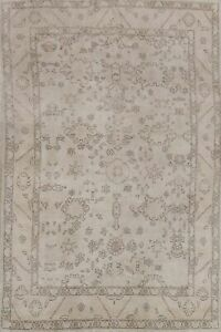 Vintage Muted Geometric Oushak Turkish Hand Knotted Vegetable Dye Area Rug 6x10