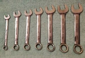 Snap on 7 piece Sae 12 Pt Combination Wrench Set