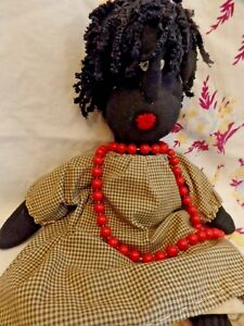 17 Primitive Country Folk Art Plush Black Sock Doll Tea Stained Clothes