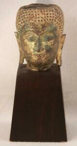 Antique Chinese Bronze Shakyamuni Sakyamuni Buddha Head Bust Statue On Stand