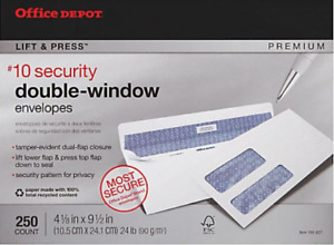 Office Depot 100 Recycled Lift Press Double window Security Envelopes 10 4