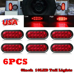 6x Car Oval 6 Red 10 Led Side Marker Tail Lights Stop Turn Truck Sealed Lamps