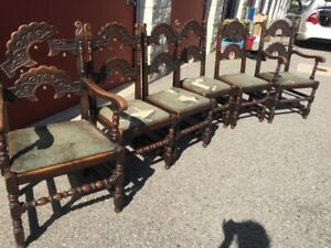 Antique Jacobean Oak Dining Chairs 2 Arms 4 Sides