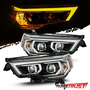 Fit 2014 2020 Toyota 4runner Led Sequential Signal Black Projector Headlights