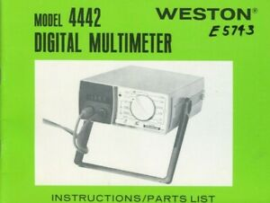 Weston Model 4442 Digital Multimeter Instructions Parts List Original