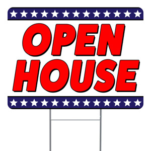 Open House 18x24 Inch Sign With Display Options
