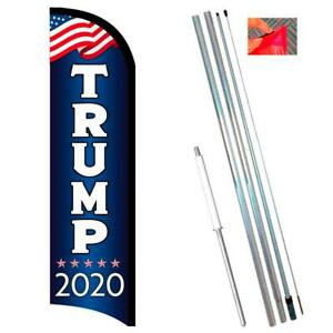 Trump 2020 Premium Windless style Feather Flag Bundle 14 Or Replacement Flag On
