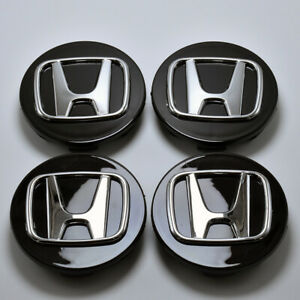 4x Set Black Wheel Emblem Hub Center Cap Badge For Honda Civic Accord Crv 69mm