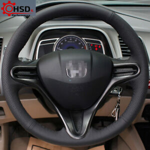 Hand Stitching Black Leather Steering Wheel Cover For Honda Civic Old 2004 2011