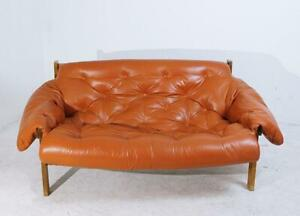 Mid Century Modern Percival Lafer Style Tufted Leather Sofa 1970s