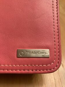 Franklin Covey Pocket Full Grain Pink Leather Unstructured Planner Organizer