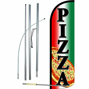 Pizza Flag Flutter Feather Banner Swooper Extra Wide Windless Bundle Kit