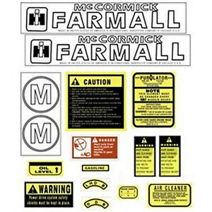 Brand New Hood Safety Decal Set For International Farmall Model M Tractors