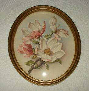 Antique Peter Watson Studio Oval Convex Picture Frame Ibf Co Lithograph Dogwood