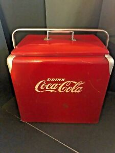 Vintage Drink Coke Coca-Cola Red Metal Cooler/Ice Chest w/ Tray- Progress Refrig