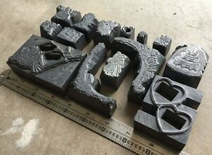 Large Lot Of Solid Lead Letterpress Printers Blocks cuts Wedding celebration