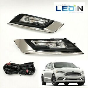 Led Clear Fog Lights Kit For 2017 2018 Ford Fusion Bezel Switch Wiring Harness
