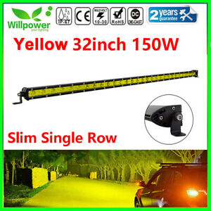 Amber 32inch 150w Flood Spot Slim Single Row Led Light Bar For Car Suv Off Road