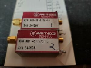 2 Each Miteq Microwave Rf Power Amplifier Amf 4s 7278 19 7 2 7 8 Ghz Tested