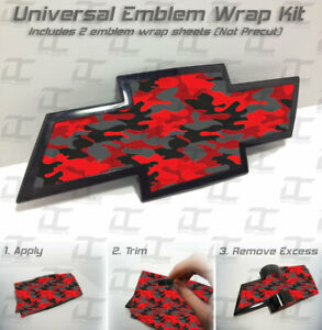2 Universal Chevy Red Camo Bowtie Emblem Overlay Wrap Kit Silverado Tahoe