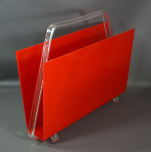 Eames Mid Century Modernist Red Clear Lucite Magazine Newspaper Holder Rack