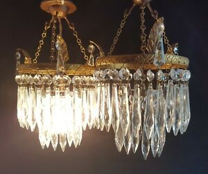 Vintage Pair Of Crystal Glass Drops Brass Chandelier Ceiling Light Shades