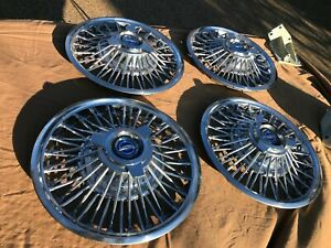 1965 1966 1967 Ford Mustang Fairlane 14 Wire Spoke Spinner Hubcaps Nice Falcon