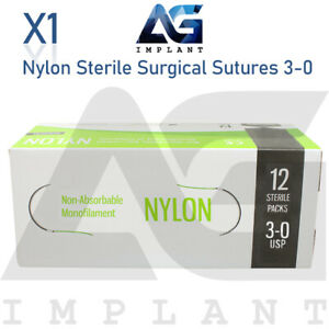3 0 Nylon Sterile Surgical Sutures Non Absorbable Blue Monofilament Medical
