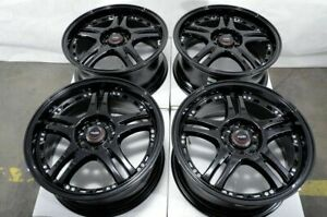 16x7 5x100 5x114 3 Black Wheels Fits Matrix Prius 86 Celica Corolla Accord Rims