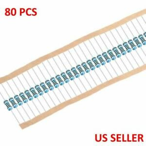 1 4w 25 Watt 1 Tolerance Metal Film Resistor 80 Pieces Usa Top Seller