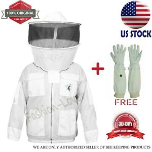 3 Layers Anti Bee Jacket Beekeeping Suit Protective Costume Coat White Size s