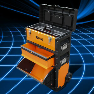 49cm W X 63 3cm H X 23cm D 3 Tier Stackable Storage Tool Box Rolling Trolley