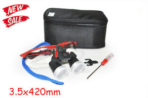 Red Dental Surgical Medical Binocular Loupes 3 5x 420mm Optical Glass Magnifier