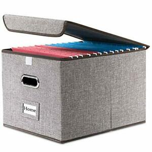 File Organizer Box Collapsible Decorative Linen Filing Storage Hanging File New