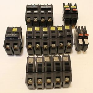 Lot 18 Federal Pacific Electric Stab Lok Circuit Breaker 1 2 Pole 15 20 30 Amp