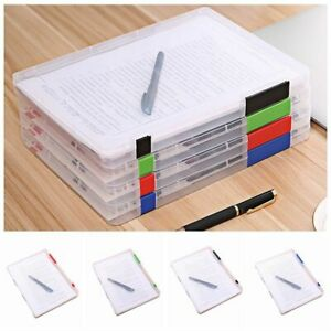 Storage Folder Box Clear Plastic Document Paper Filling Case Compact Portable