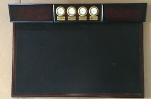 2005 Bombay Wood Leather Writing Desk Pad 26 X 18 W 4 Small Clock Interfaces
