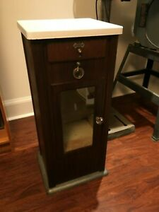 Vintage Metal Pelton Crane Dental Medical Cabinet Stand With Glass Door Drawer