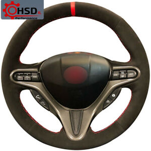 New Hand Sewing Suede Steering Wheel Cover For Honda Civic 8 2004 2011 3 Spoke