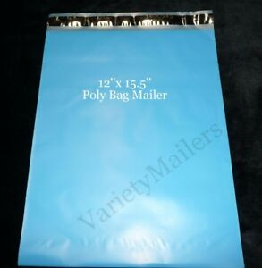 100 Blue Poly Bag Mailers 12x15 5 Large Plastic Shipping Bags
