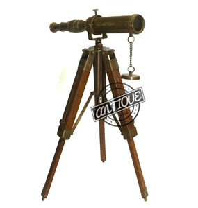 Valentine Adjustable Wood Tripod Vintage Brass Telescope And Stand Antique De