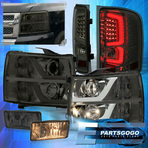 For 07 13 Silverado Drl Reflector Smoked Headlights Led Tail Lights Fogs Set