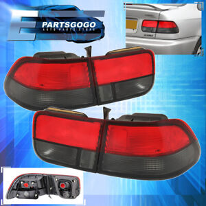 For 1996 2000 Honda Civic 2 Door Ej6 Coupe 4 Piece Tail Light Smoke Red