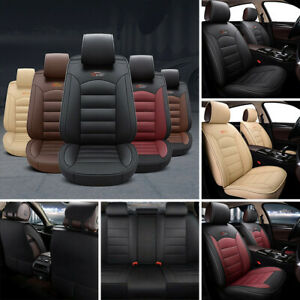 5 seat Car Seat Covers Protector cushion Front rear Full Set Pu Leather Interior