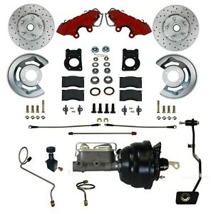67 68 69 Mustang Cougar Comet Front Disc Brake Conversion Red Powder Coat