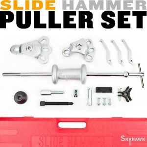 17 Pc 9 Way Slide Hammer Dent Gear Bearing Axle Hub Puller Auto Body Repair Kit