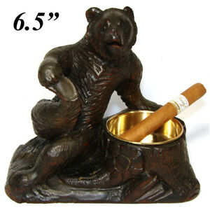 Antique Hc Wood Black Forest Bear Smoker S Stand Or Open Table Salt 6 5 Tall