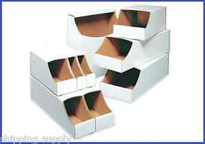 50 Pack Stackable White Corrugated Storage Bin Boxes 10 Sizes Available
