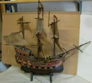 Antique 30 Circa 1800s Hand Crafted Wooden Large Ship S Model In Original Paint